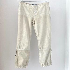 Earl Jean Cropped Zipper Leg Pants Beige 27